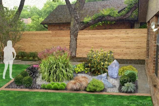 """Gotowy projekt ogrodu - """"Rabata w stylu japońskim"""" (BEZ SADZONEK)."""