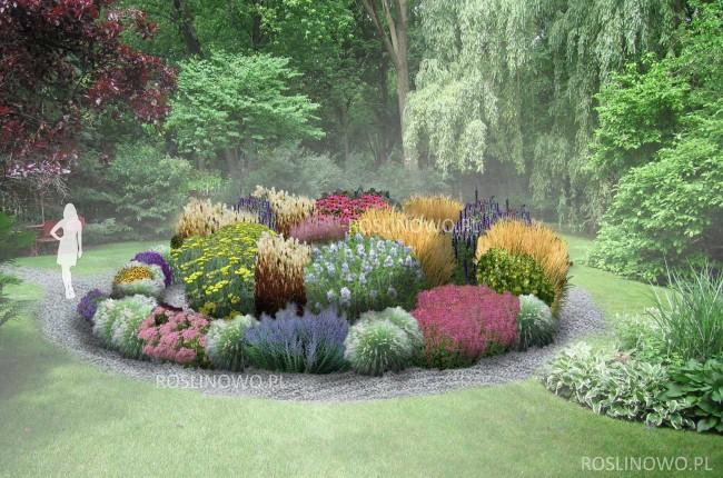 """Gotowy projekt ogrodu - """"Rabata Muzyczna"""" (BEZ SADZONEK)."""