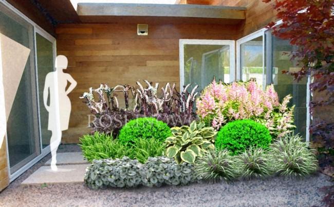 """Gotowy projekt ogrodu (rabata) - """"Pastelowa elegancja"""". Zestaw (Projekt + 25 sadzonek)"""
