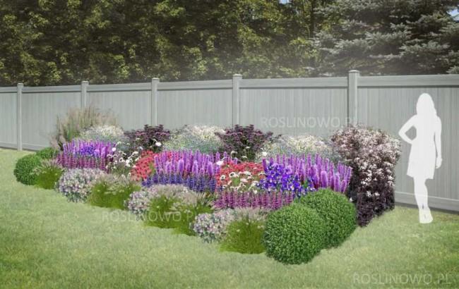 """Gotowy projekt ogrodu - """"Rabata Zmysłowa"""". Zestaw (Projekt + 75 sadzonek)."""