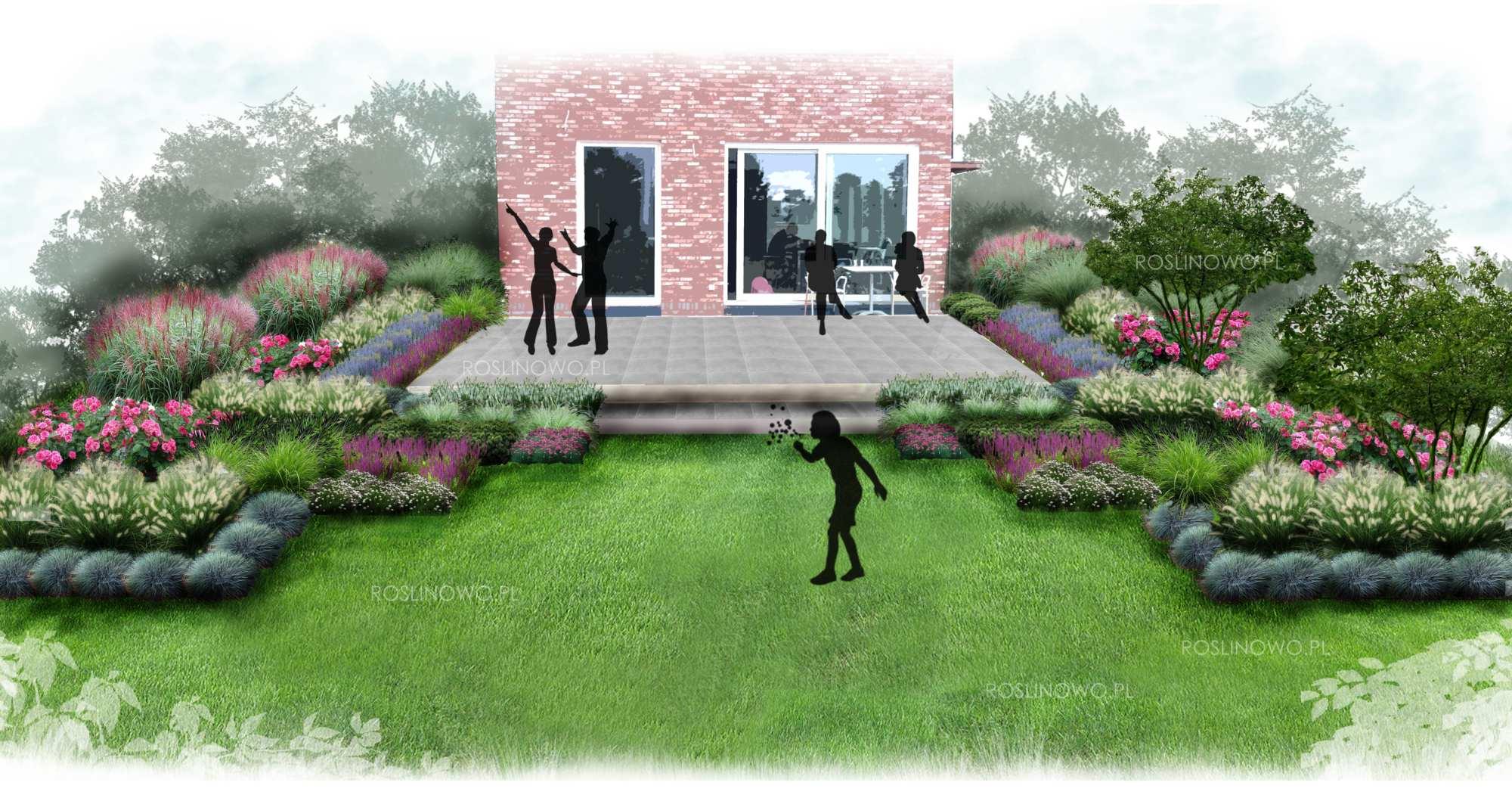 Gotowy projekt małego geometrycznego ogrodu przy tarasie