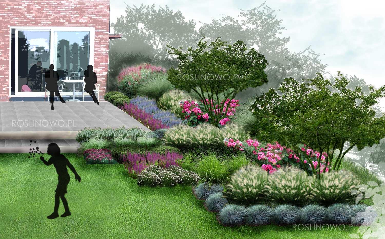 Geometryczny taras - projekt małego ogrodu