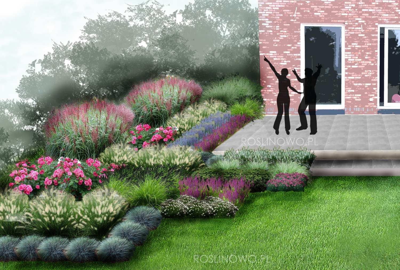 Gotowy projekt ogrodu (rabaty)-Geometryczny ogród przy tarasie
