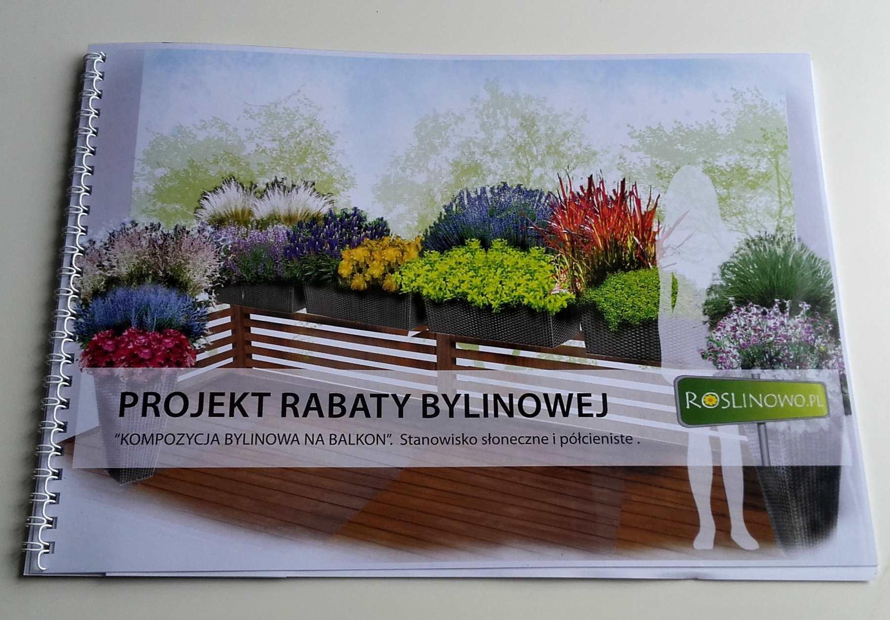 aranżacja bylinowa na balkon, druk projektu