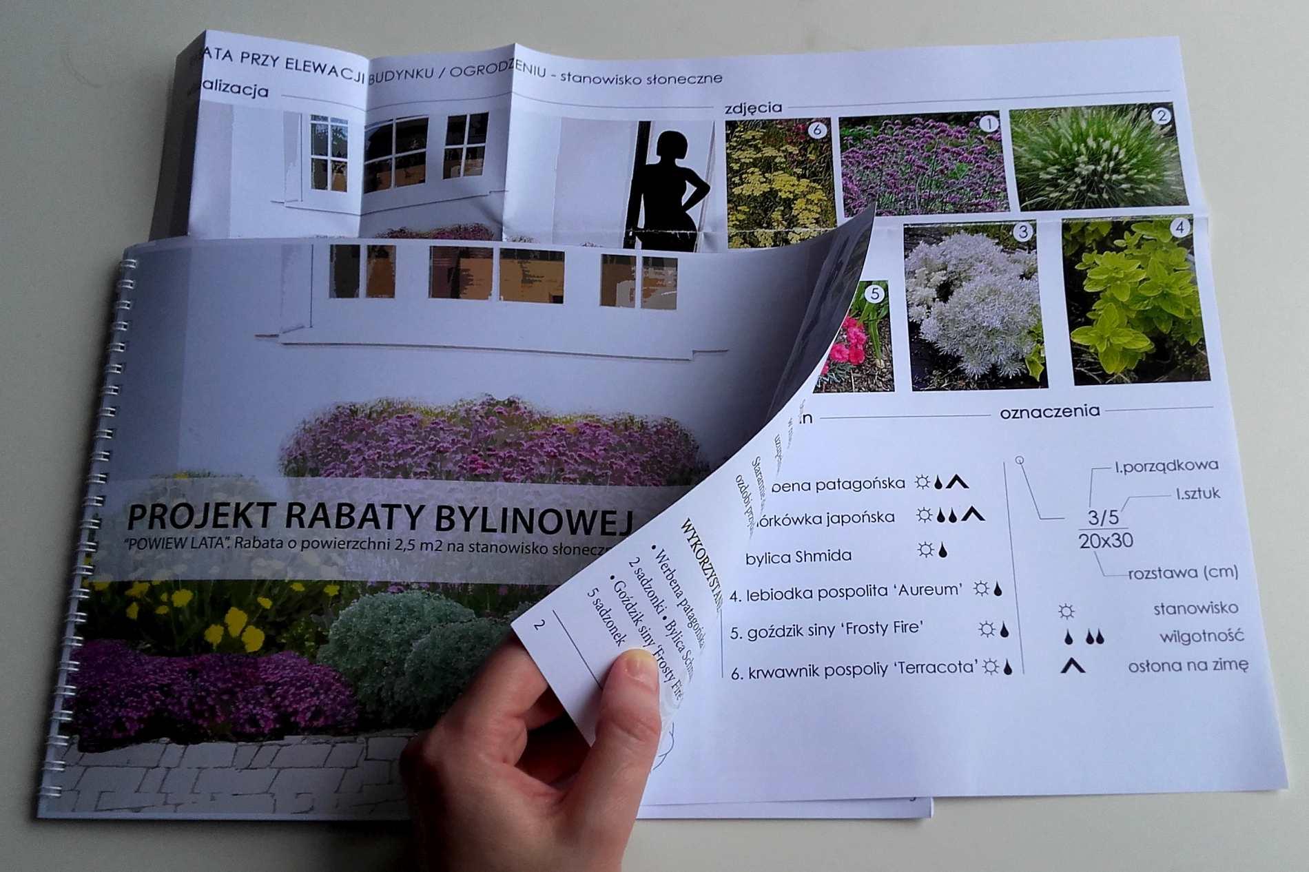 wydrukowany gotowy projekt rabaty bylinowej - powiew lata
