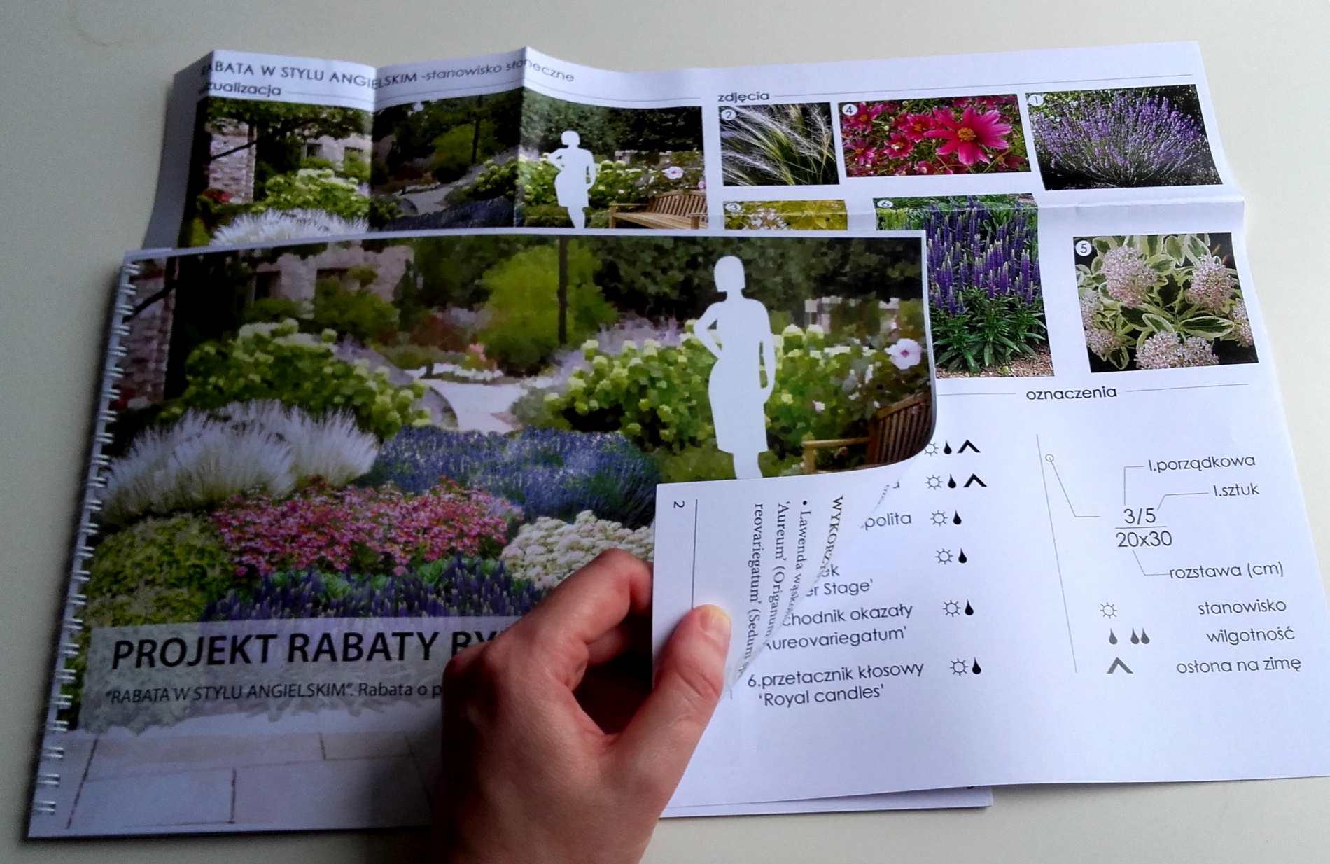 wydrukowany projekt rabaty bylinowej w stylu angielskim