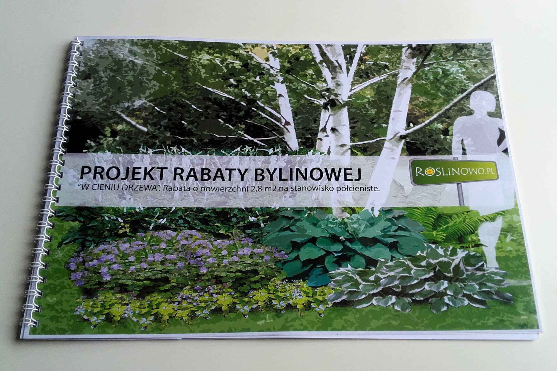 Okładka projektu rabaty bylinowej w cieniu drzewa.