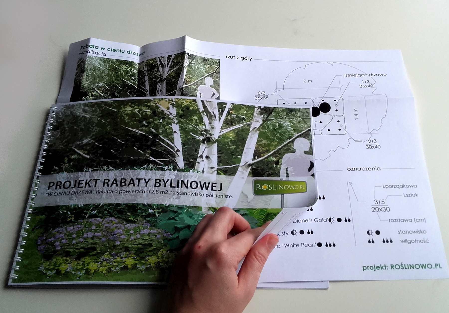 Okładka wraz z planszą rabaty bylinowej w cieniu drzewa.