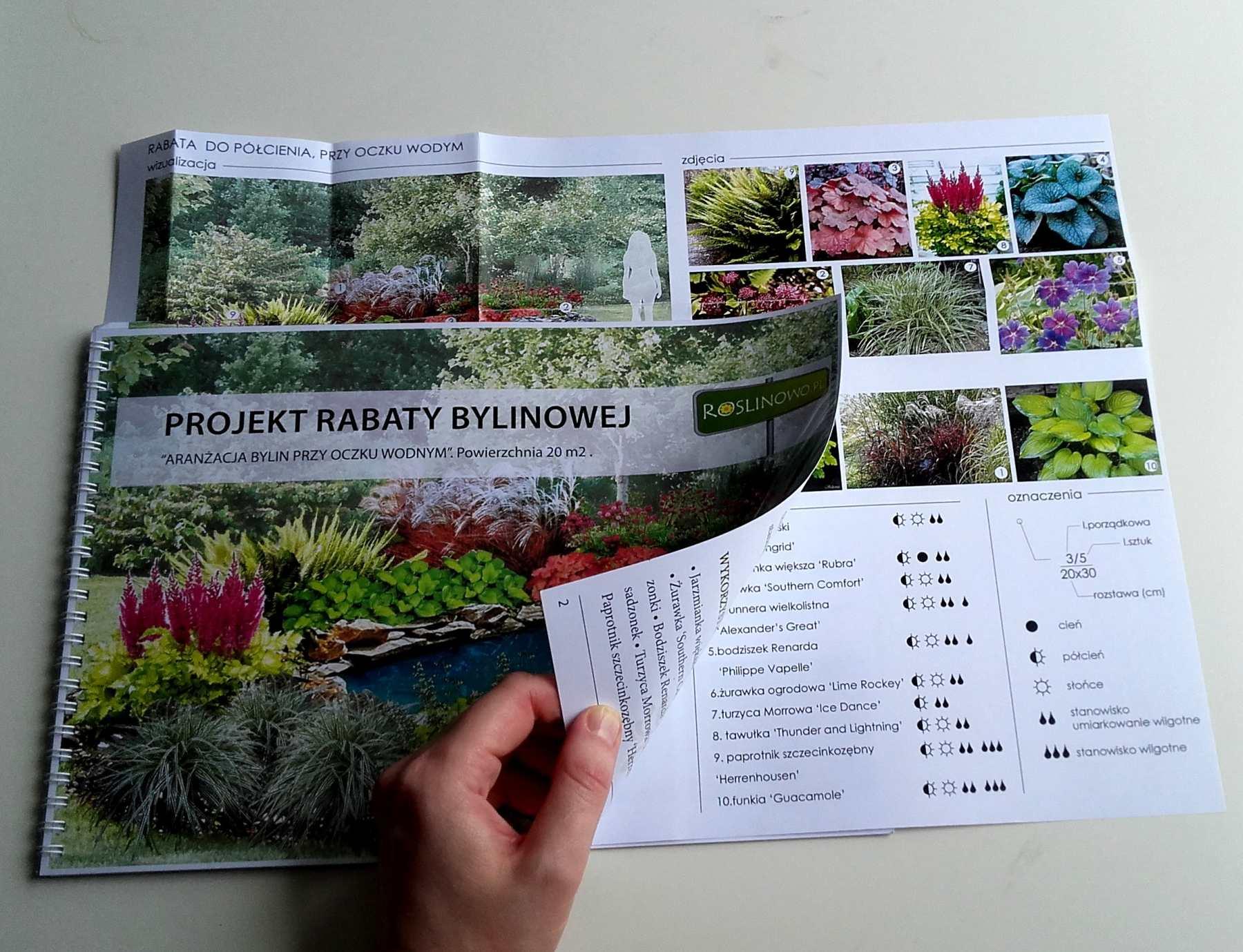 wydrukowany projekt - aranżacja bylin i traw przy oczku wodnym