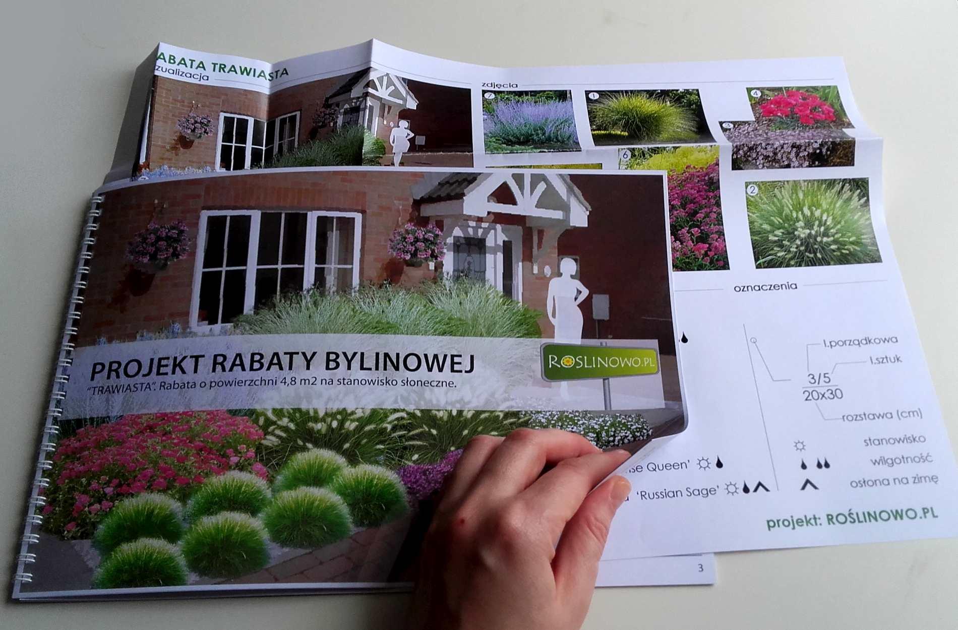 wydrukowany projekt rabaty trawiastej
