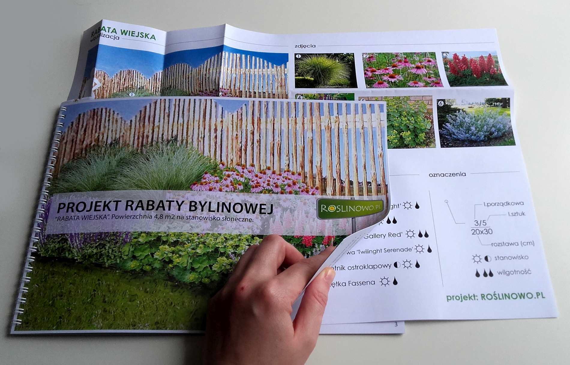 wydrukowany projekt rabaty bylinowej - wiejska