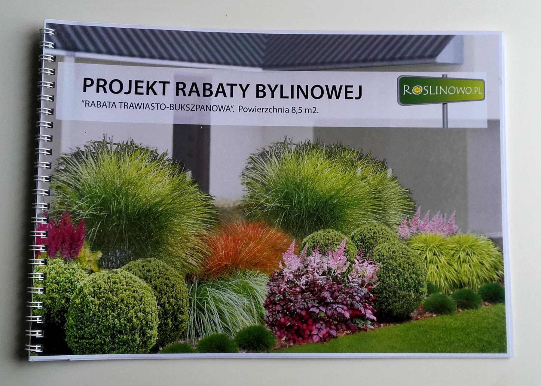 Gotowy projekt rabaty trawiasto - bukspzanowej